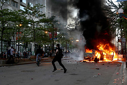 A car is set ablaze in the 200 block of North State Street during protests in Chicago on May 30, 2020. Photo by John J. Kim/Chicago Tribune/TNS/ABACAPRESS.COM
