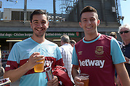 two West Ham fans outside Emirates Stadium before k/o. Barclays Premier League, Arsenal v West Ham Utd at the Emirates Stadium in London on Sunday 9th August 2015.<br /> pic by John Patrick Fletcher, Andrew Orchard sports photography.