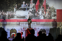 November 10, 2018 - Warsaw, Poland - People seen attending the Unveiling of a new statue of the Former Polish  President Lech Kaczynski at Pilsudskiego Square on the day before  the centenary independence day. (Credit Image: © Omar Marques/SOPA Images via ZUMA Wire)