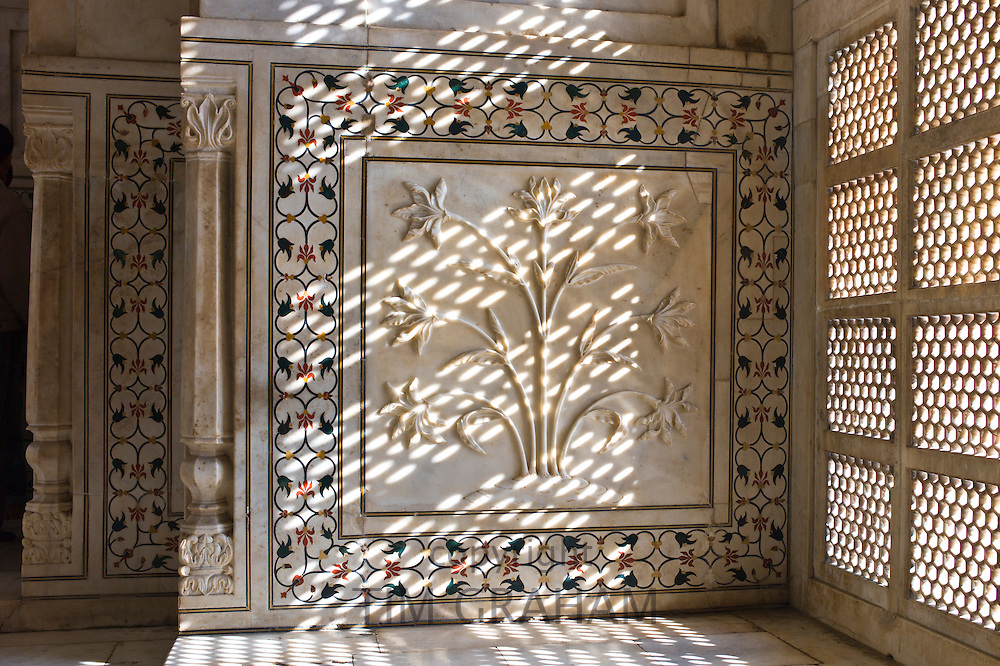 Taj Mahal mausoleum interior by the tombs of Shah Jahan and Mumtaz Mahal in Agra, Uttar Pradesh, India
