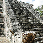 Steps of one of the buildings at Chichen Itza, Mexico.