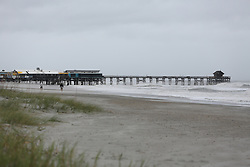 October 8, 2016 - Cocoa Beach, Florida, U.S. - DOUGLAS R. CLIFFORD   |   Times.The Cocoa Beach Pier and surrounding beaches and sea oats remain enact on Friday (10/7/16) morning after hurricane Matthew passed to the east on Florida's east coast. (Credit Image: © Douglas R. Clifford/Tampa Bay Times via ZUMA Wire)