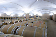 Oak barrel aging cellar. Albet i Noya. Oak barrel aging and fermentation cellar. Penedes Catalonia Spain