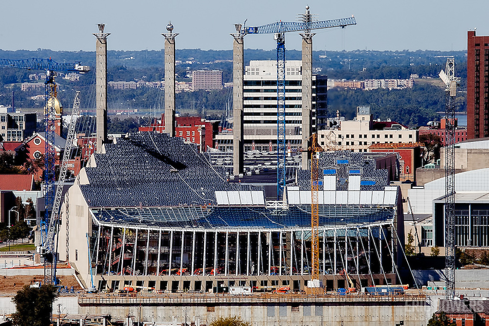 Kansas City's Crossroads District and the Kauffman Center's construction site seen from the top of Liberty Memorial.