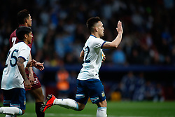March 22, 2019 - Madrid, MADRID, SPAIN - Cristian Pavon of Argentina celebrates a goal during the international friendly football match played between Argentina and Venezuela at Wanda Metropolitano Stadium in Madrid, Spain, on March 22, 2019. (Credit Image: © AFP7 via ZUMA Wire)