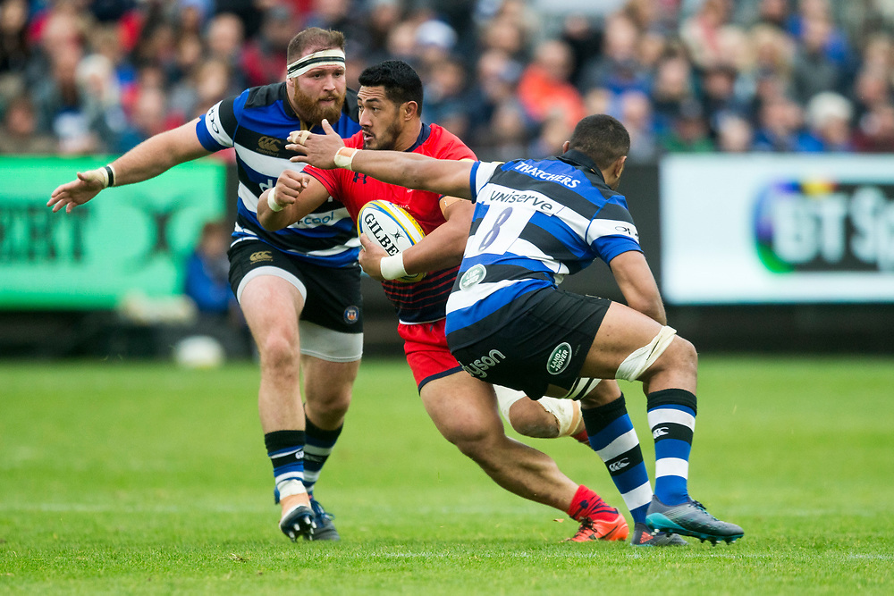 Worcester Warriors' Alafoti Fa'osiliva in action during todays match<br /> <br /> Photographer Bob Bradford/CameraSport<br /> <br /> Aviva Premiership - Bath Rugby v Worcester Warriors - Saturday 7th October 2017 - The Recreation Ground - Bath<br /> <br /> World Copyright © 2017 CameraSport. All rights reserved. 43 Linden Ave. Countesthorpe. Leicester. England. LE8 5PG - Tel: +44 (0) 116 277 4147 - admin@camerasport.com - www.camerasport.com