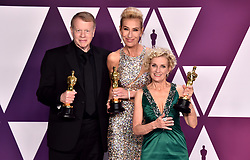 Greg Cannom, Kate Biscoe and Patricia Dehaney with the award for Best Makeup and Hairstyling for Vice in the press room at the 91st Academy Awards held at the Dolby Theatre in Hollywood, Los Angeles, USA.