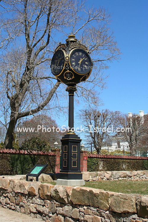 USA, Rhode Island, Newport The Illustration Museum Clock, beautiful freestanding four-faced gilded clock stands in the Frederick Law Olmstedt Park at the intersection of Bellevue and Victoria Avenue