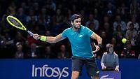 Tennis - 2019 Nitto ATP Finals at The O2 - Day One<br /> <br /> Singles Group Bjorn Borg: Novak Djokovic vs. Matteo Berrettini<br /> <br /> Matteo Berrettini (Italy) opens his frame as he prepares to return serve <br /> <br /> COLORSPORT/DANIEL BEARHAM