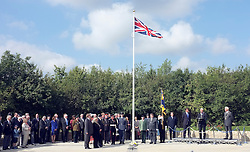 © licensed to London News Pictures. CARTERTON, UK.  01/09/11.A ceremony, attended by British Prime Minister David Cameron,  takes place at The Memorial Garden at Norton Way in Carterton, Oxfordshire today (01 Sept 2011). The Garden will become the focal point during the repatriation of UK service personnel from RAF Brize Norton. The Union Flag that used to fly at repatriations in Wooton Bassett was handed over and was blessed. . Mandatory Credit Stephen Simpson/LNP