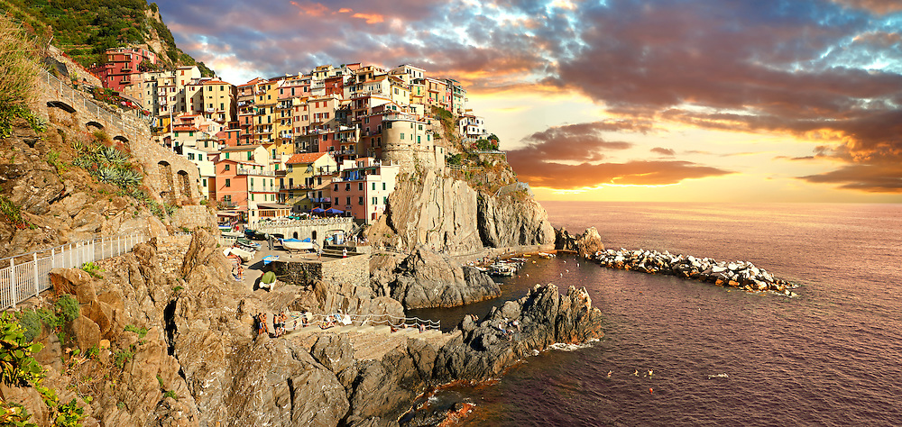 Photo of the fishing port of Manarola at sunset , Cinque Terre National Park, Liguria, Italy .<br /> <br /> Visit our ITALY HISTORIC PLACES PHOTO COLLECTION for more   photos of Italy to download or buy as prints https://funkystock.photoshelter.com/gallery-collection/2b-Pictures-Images-of-Italy-Photos-of-Italian-Historic-Landmark-Sites/C0000qxA2zGFjd_k