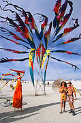 Art installation at Burning Man. Burning Man is a performance art festival known for art, drugs and sex. It takes place annually in the Black Rock Desert near Gerlach, Nevada, USA.