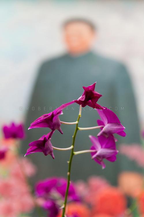 Kim Jong Il and a Kimilsungia flower, Pyongyang, DPRK (North Korea)
