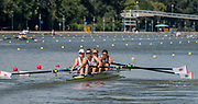 Plovdiv BULGARIA. 2017 FISA. Rowing World U23 Championships. <br /> GBR W4-. Bow.  SAUNDERS, Margaret. COUSINS, Oonagh. IRWIN, Lauren and BREW, Chloe.<br /> Wednesday. PM,  Heats 16:05:16  Wednesday  19.07.17   <br /> <br /> [Mandatory Credit. Peter SPURRIER/Intersport Images].