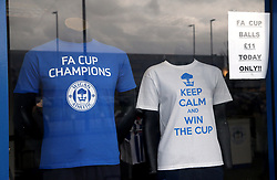 A window display in the Wigan Athletic club shop at the DW Stadium