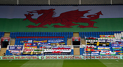CARDIFF, WALES - Sunday, September 6, 2020: Wales supporters flags and banners pictured before the UEFA Nations League Group Stage League B Group 4 match between Wales and Bulgaria at the Cardiff City Stadium. (Pic by David Rawcliffe/Propaganda)