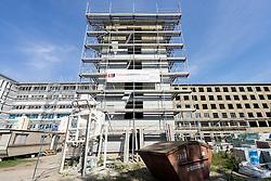 Renovation into modern apartments  of Nazi era buildings at former resort Prora on Rugen Island in Mecklenburg Vorpommern Germany