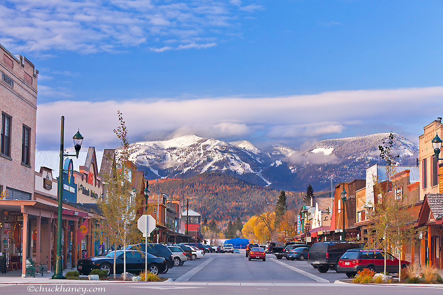 An autumn look down Central Avenue in downtown Whitefish, Montana, USA