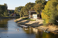 River Raba and Boat House - ( Gy?r )  Gyor Hungary .<br /> <br /> Visit our HUNGARY HISTORIC PLACES PHOTO COLLECTIONS for more photos to download or buy as wall art prints https://funkystock.photoshelter.com/gallery-collection/Pictures-Images-of-Hungary-Photos-of-Hungarian-Historic-Landmark-Sites/C0000Te8AnPgxjRg