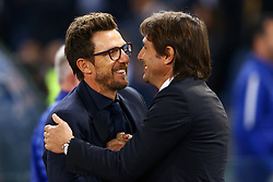 October 31, 2017 - Rome, Italy - Eusebio Di Francesco manager of Roma and Antonio Conte manager of Chelsea  during the UEFA Champions League football match AS Roma vs Chelsea on October 31, 2017 at the Olympic Stadium in Rome. (Credit Image: © Matteo Ciambelli/NurPhoto via ZUMA Press)