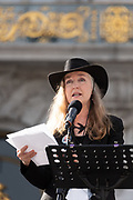 San Francisco, USA. 19th January, 2019. The Women's March San Francisco begins with a rally at Civic Center Plaza in front of City Hall. Rebecca Solnit, writer, activist and historian, addresses the crowd. Solnit is a contributor to the Guardian and author of twenty books on topics including hope, feminism, disaster, environment, western history, and wandering. Credit: Shelly Rivoli/Alamy Live News