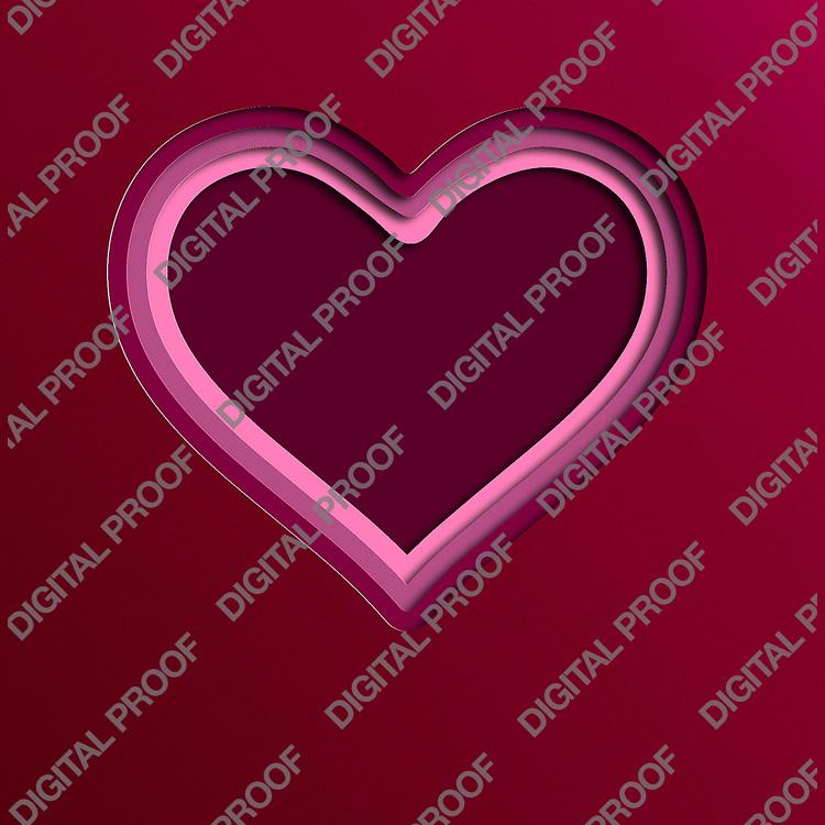 Heart Paper Art in Red Tonalities - Vector Art Illustration