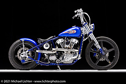 Tom Keefer's 1944 Knucklehead custom bobber.  Photographed by Michael Lichter in Sturgis, SD. August 5, 2021. ©2021 Michael Lichter
