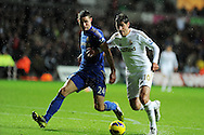 Swansea city's Danny Graham (10) looks to go past Chelsea's Gary Cahill. Barclays Premier league, Swansea city v Chelsea at the Liberty Stadium in Swansea, Swansea, South Wales on Saturday 3rd November 2012. pic by Andrew Orchard, Andrew Orchard sports photography,