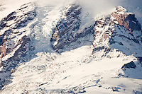 The Nisqually Icefall and glacier and Nisqually Cleaver (left) and Gibraltar Rock (right) and Camp Muir (center right) and Muir Snowfield (lower right) on Mount Rainier, WA, USA.