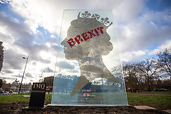 © Licensed to London News Pictures. 09/12/2018. London, UK. A Brexit-themed sculpture seen in Hyde Park Corner, before demonstrators take part in a 'Brexit Betrayal' march in central London, campaigning against Theresa May's Brexit deal. The demonstration is backed and attended by far-right activist Stephen Yaxley-Lennon, also known as Tommy Robinson. A counter demonstration organised by Unite Against Fascism and Racism is also taking place on a different route. Photo credit : Tom Nicholson/LNP
