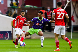 Conor Chaplin of Barnsley takes on Zak Vyner of Bristol City - Mandatory by-line: Robbie Stephenson/JMP - 17/10/2020 - FOOTBALL - Oakwell Stadium - Barnsley, England - Barnsley v Bristol City - Sky Bet Championship