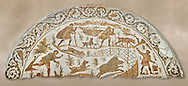 4th century Roman mosaic panel of a boar hunt from Cathage, Tunisia. The Bardo Museum, Tunis, Tunisia. .<br /> <br /> If you prefer to buy from our ALAMY PHOTO LIBRARY  Collection visit : https://www.alamy.com/portfolio/paul-williams-funkystock/roman-mosaic.html - Type -   Bardo    - into the LOWER SEARCH WITHIN GALLERY box. Refine search by adding background colour, place, museum etc<br /> <br /> Visit our ROMAN MOSAIC PHOTO COLLECTIONS for more photos to download  as wall art prints https://funkystock.photoshelter.com/gallery-collection/Roman-Mosaics-Art-Pictures-Images/C0000LcfNel7FpLI