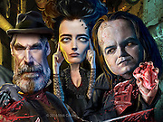"""Caricature: Explorer Sir Malcolm Murray (Timothy Dalton), possessed Vanessa Ives (Eva Green), Frankenstein's """"The Creature"""" (Rory Kinnear) combat in supernatural struggles in Victorian London. Photoshop. Originally published in Penthouse Entertainment Review."""