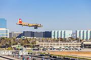 Vintage Airplane Flying Into John Wayne Airport In Irvine