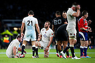 A dejected and exhausted looking England's Chris Robshaw at the final whistle - QBE Autumn Internationals - England vs New Zealand - Twickenham Stadium - London - 08/11/2014 - Pic Charlie Forgham-Bailey/Sportimage
