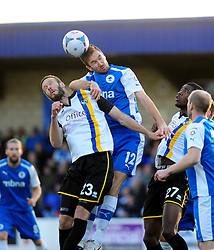 Bristol Rovers' Andy Monkhouse is challenged by Chester's Josh O'Keefe - Photo mandatory by-line: Neil Brookman/JMP - Mobile: 07966 386802 - 22/11/2014 - Sport - Football - Chester - Deva Stadium - Chester v Bristol Rovers - Vanarama Football Conference