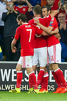 Football - 2018 World Cup - Qualifying 2016 / 2017 - Group D: Wales vs Moldova<br /> <br />  Gareth Bale \scores his team's third goal    …  at the Cardiff City Stadium<br /> <br /> pic colorsport/winston bynorth
