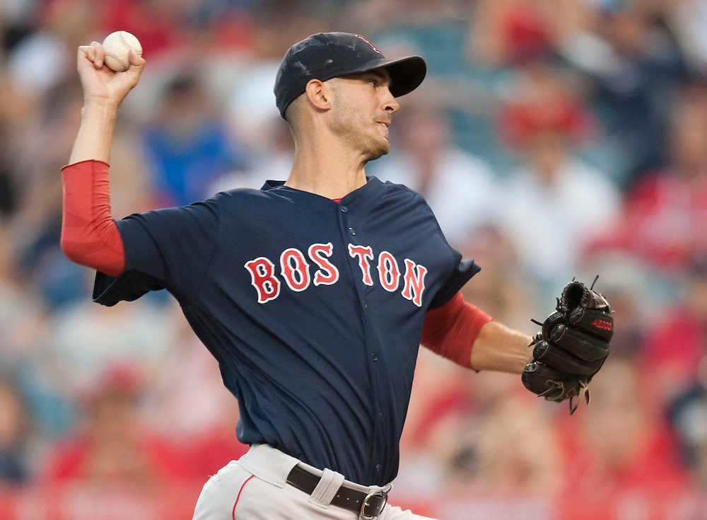 Boston starter Rick Porcello pitches against the Angels' at Angel Stadium on Friday.<br /> <br /> ///ADDITIONAL INFO:   <br /> <br /> angels.0730.kjs  ---  Photo by KEVIN SULLIVAN / Orange County Register  -- 7/29/16<br /> <br /> The Los Angeles Angels take on the Boston Red Sox at Angel Stadium.
