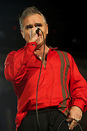 Morrissey performs on stage at Barclaycard Center on October 9, 2014 in Madrid