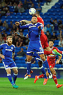 Cardiff City's Sean Morrison (foreground) challenges with Blackburn's Shane Duffy for a header and the effort goes in for the Cardiff  2nd goal. EFL Skybet championship match, Cardiff city v Blackburn Rovers at the Cardiff city stadium in Cardiff, South Wales on Wednesday 17th August 2016.<br /> pic by Carl Robertson, Andrew Orchard sports photography.