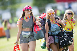 Savanah McEwan, Veronica Sardecka and Emma Jane Grant. The opening of the T in the Park 2015 campsite for the very first year at its new home at Strathallan Castle.