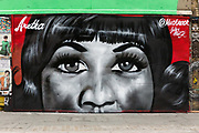 New street art graffiti in Shoreditch, east London, England on August 19, 2018 that pays tribute to the singer, Aretha Franklin who has died following a battle with pancreatic cancer.  The mural has been created by artist, Jules Muck in collaboration with Global Street Art.