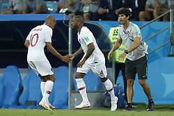 (L-R) Joao Mario of Portugal, Manuel Fernandes of Portugal during the 2018 FIFA World Cup Russia round of 16 match between Uruguay and at the Fisht Stadium on June 30, 2018 in Sochi, Russia
