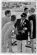 Henley on Thames, England, 1989 Henley Royal Regatta, River Thames, Henley Reach,  [© Peter Spurrier/Intersport Images], The Ladies Challenge Cup, NCRA, Harvard University, USA., Regatta Chairman, Peter CONI QC., congratulates the Crew, , Crew. NCRA: Chris BATES (bow), Peter HAINING, Tom KAY, Justin HOOKER, Marish CHMEIL, Carl SMITH, Neil STAITE, Toby HESSIAN (str), John DEAKIN.