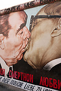 Famous painting of Leonid Brezhnev, General Secretary of the Russian Communist Party kissing Erich Honecker, a German communist politician, on the Berlin Wall
