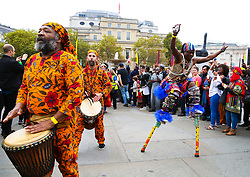 October 14, 2017 - London, London, United Kingdom - Image ©Licensed to i-Images Picture Agency. 14/10/2017. London, United Kingdom. Africa on The Square. Trafalgar Square. ..People from all communities attend the annual Africa on the Square festival in Trafalgar Square. The parade of traditional African dancers started off the event. ..Picture by Dinendra Haria / i-Images (Credit Image: © Dinendra Haria/i-Images via ZUMA Press)