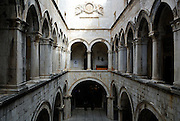 Upper gallery of courtyard, Sponza Palace, Dubrovnik old town, Croatia