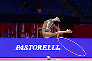 Annaliese Dragan from Romania is competing for the Rhythmic Gymnastics individual qualification of the World Cup at the Vitrifrigo Arena on May 28/29, 2021, in Pesaro, Italy. She was born in Orange County, CA on September 15, 2005.