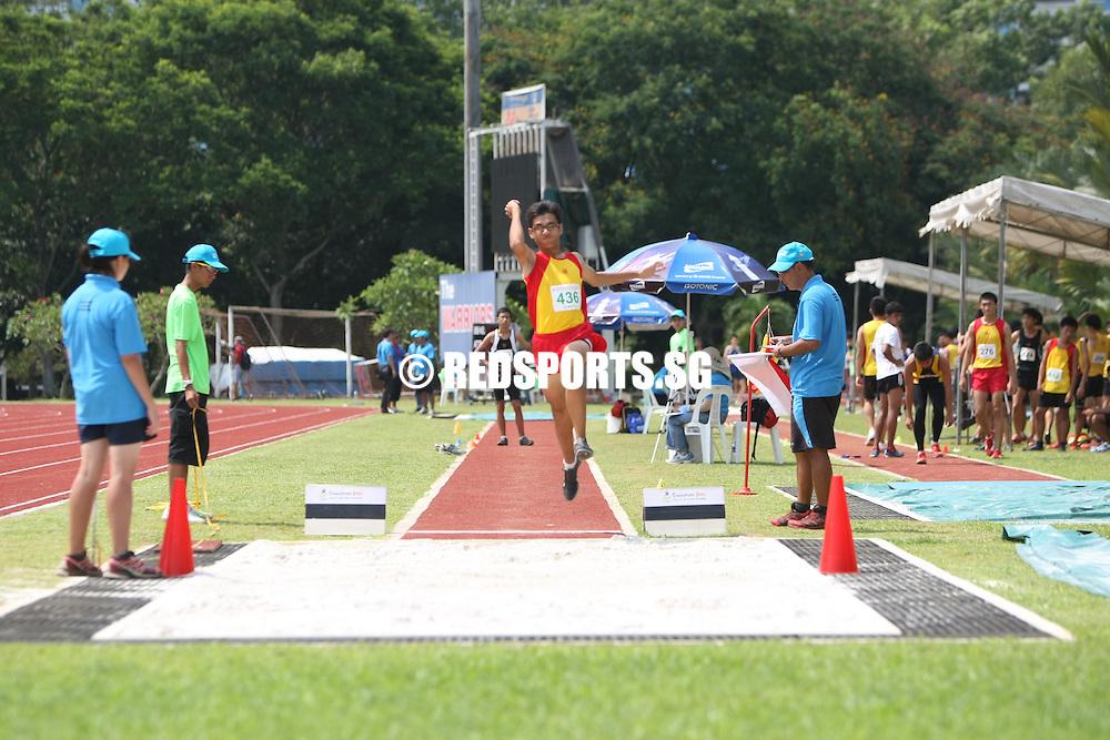 Choa Chu Kang Stadium, Friday, April 5, 2013 — Adlan Syaddad Bin Mohamad Yani of the Singapore Sports School won the C Division boys' long jump at the 54th National Schools Track and Field Championships.<br /> <br /> Story: http://www.redsports.sg/2013/04/09/c-boys-long-jump-adlan-syaddad-sports-school/