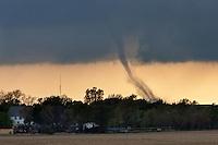 A tornado touches down near Oxford, Nebraska, April 14, 2012.